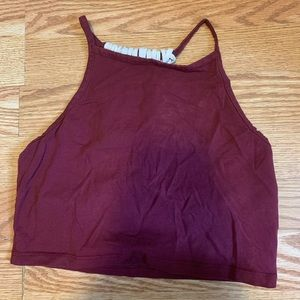 A maroon cropped tank top